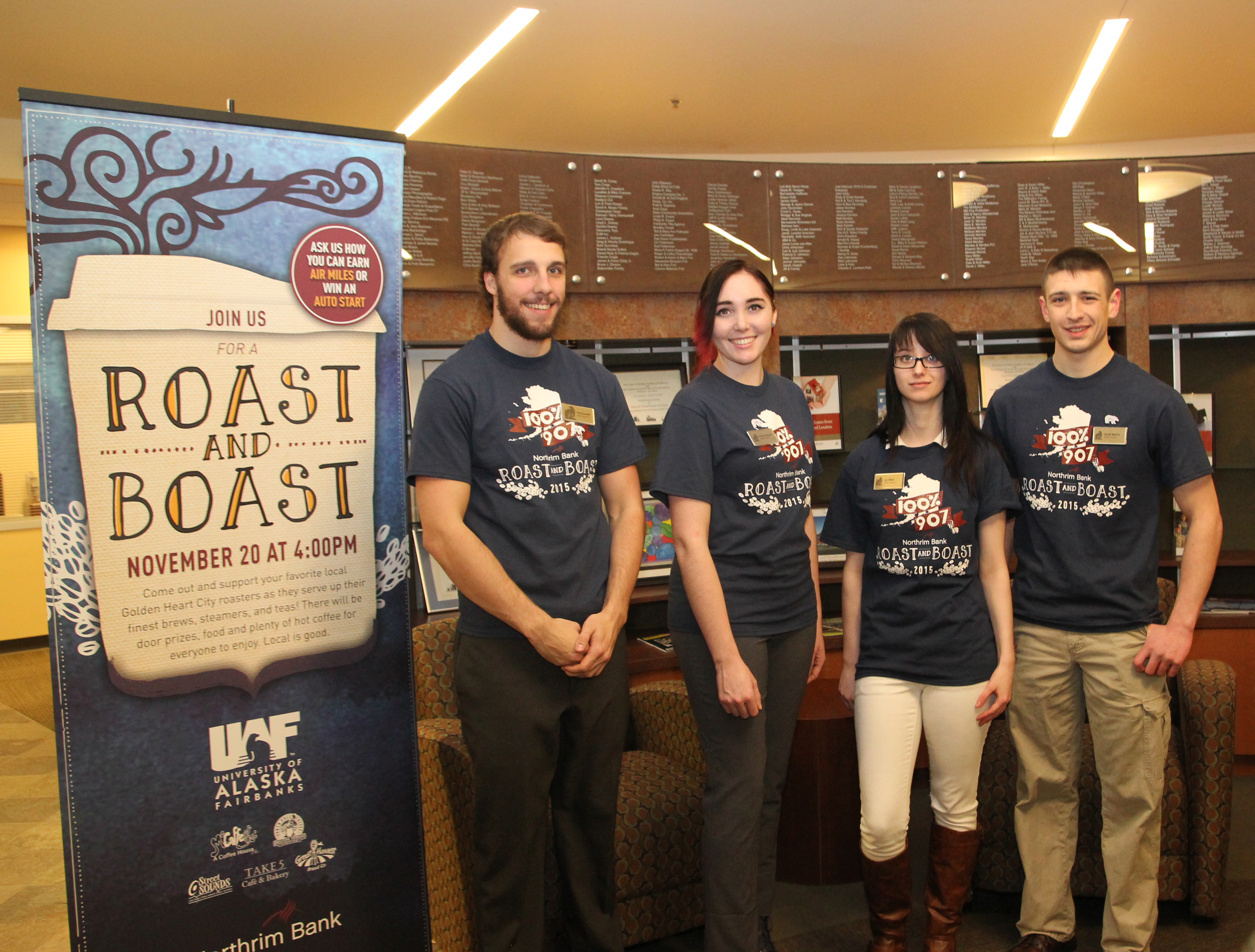 SOM Principles of Marketing students Pat Lassell, Chelsea Roehl, Lyz Allen, and Jake Mooty at Roast and Boast 2015