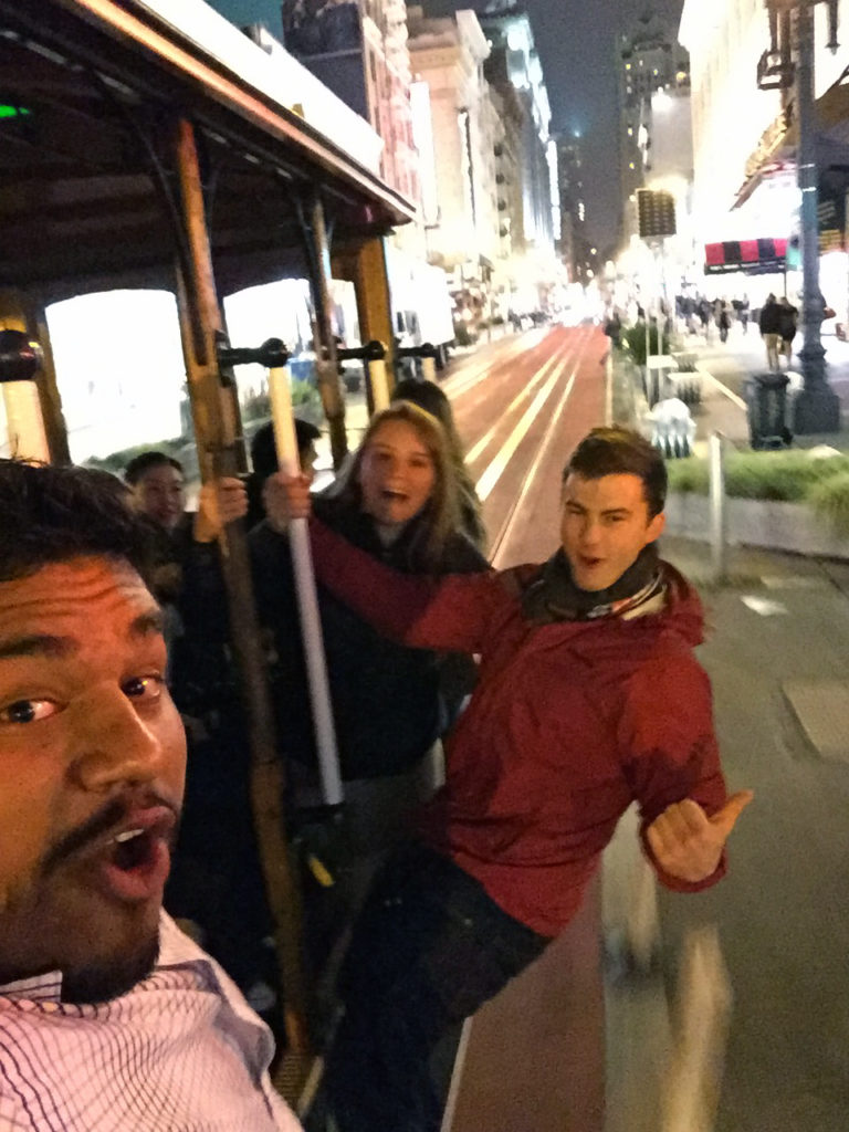 Henry Bolanos, Claressa Ullmayer, and Huckleberry Hopper, enjoying the night life on the trolley on their first night in San Francisco
