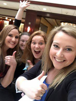 Laken Bordner, Sara McBride, Johanna Bocklet and Jamie Boyle celebrate their fourth-place finish at a Society of Human Resource Management student competition. Photo courtesy of Jamie Boyle.