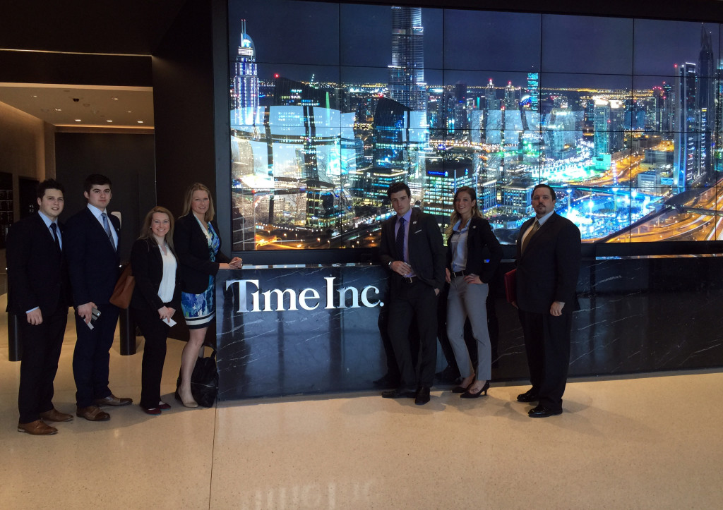 Photo by Phil Younker Hayden Nilson, Jamie Boyle, Stefan Hajdukovich, Kim McGinnis, Alec Hajdukovich, Lacey Cruikshank and Tracy Reeves visit the offices of Time Inc.